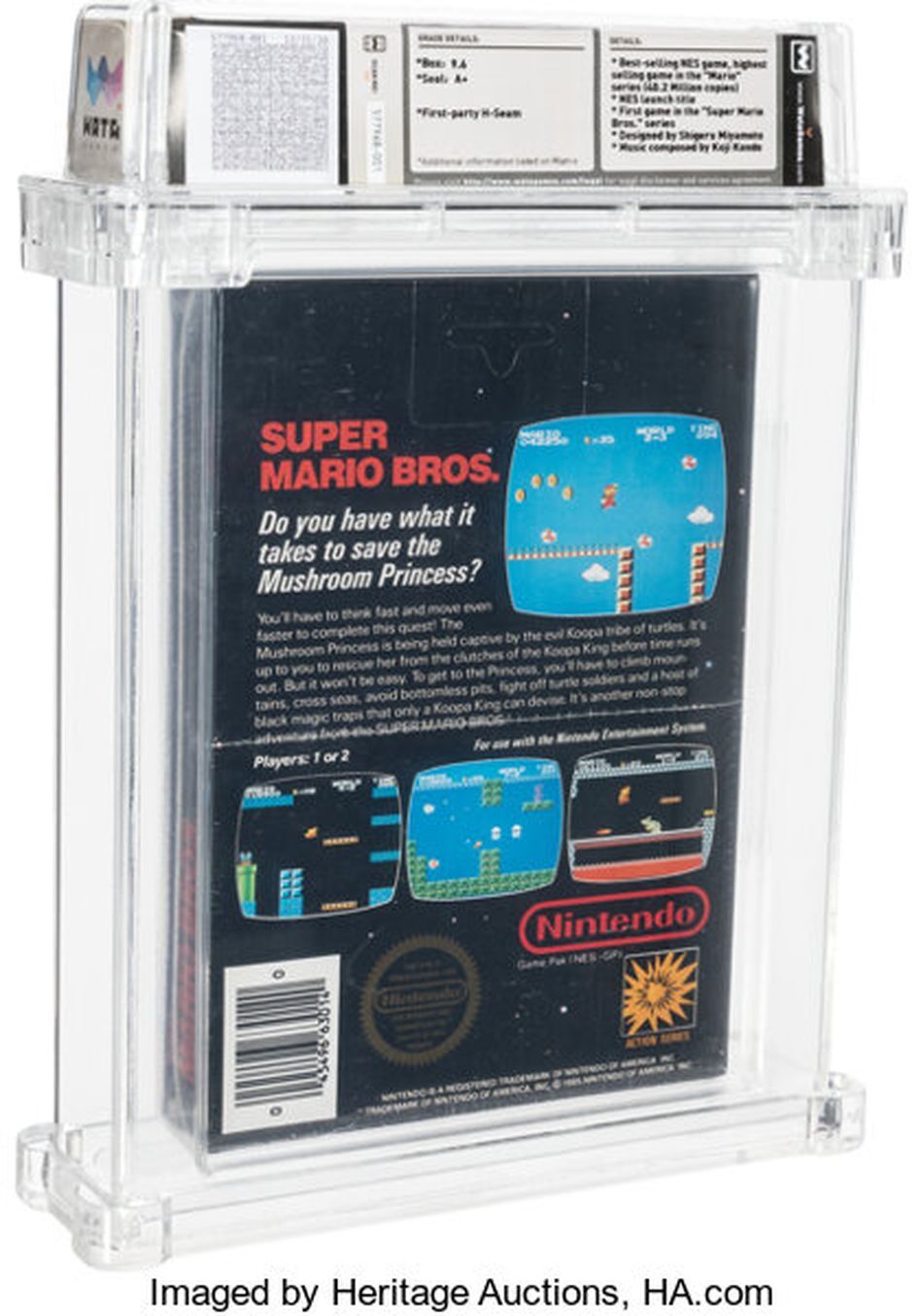 The back of the most expensive Super Mario Bros. game ever.